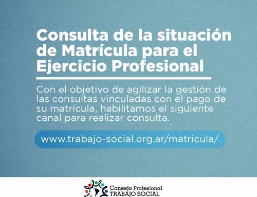 Consulta de la situación de Matrícula para el Ejercicio Profesional
